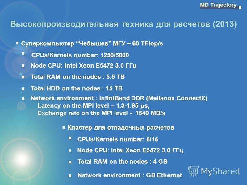Высокопроизводительная техника для расчетов (2013) Суперкомпьютер Чебышев МГУ – 60 TFlop/s CPUs/Kernels number: 1250/5000 Node CPU: Intel Xeon E5472 3.0 ГГц Total RAM on the nodes : 5.5 TB Total HDD on the nodes : 15 TB Network environment : InfiniBa
