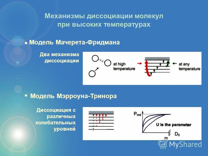 Диссоциация с различных колебатьельных уровней Модель Мэрроуна-Тринора Механизмы диссоциации молекул при высоких температурах Два механизма диссоциации Модель Мачерета-Фридмана