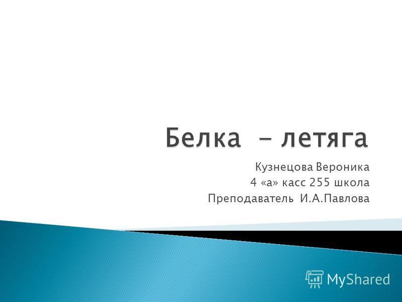 Кузнецова Вероника 4 «а» касс 255 школа Преподаватель И.А.Павлова