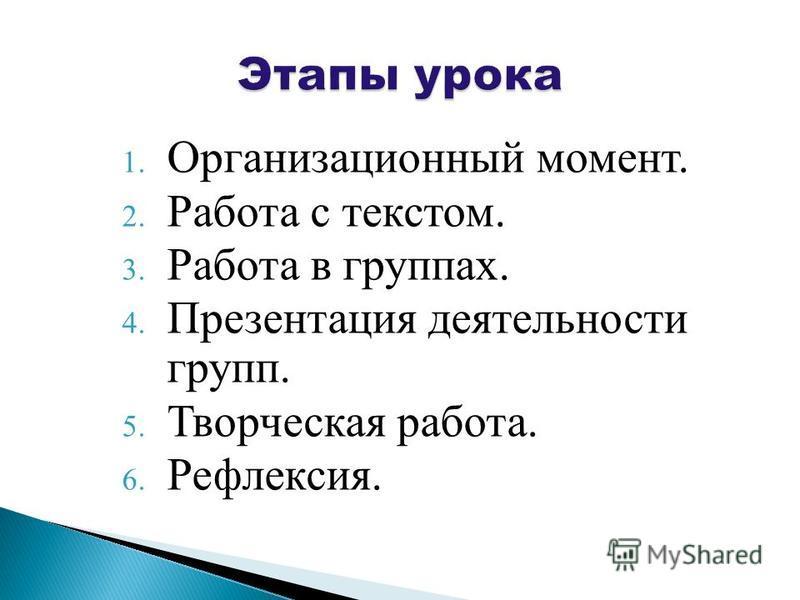 1. Организационный момент. 2. Работа с текстом. 3. Работа в группах. 4. Презентация деятельности групп. 5. Творческая работа. 6. Рефлексия.