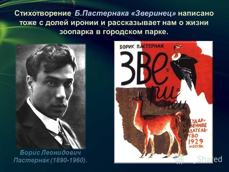 Стихотворение Б.Пастернака «Зверинец» написано тоже с долей иронии и рассказывает нам о жизни зоопарка в городском парке. Бори́с Леони́дович Пастерна́к (1890-1960).