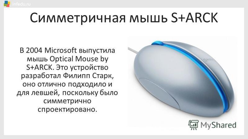 Симметричная мышь S+ARCK В 2004 Microsoft выпустила мышь Optical Mouse by S+ARCK. Это устройство разработал Филипп Старк, оно отлично подходило и для левшей, поскольку было симметрично спроектировано.