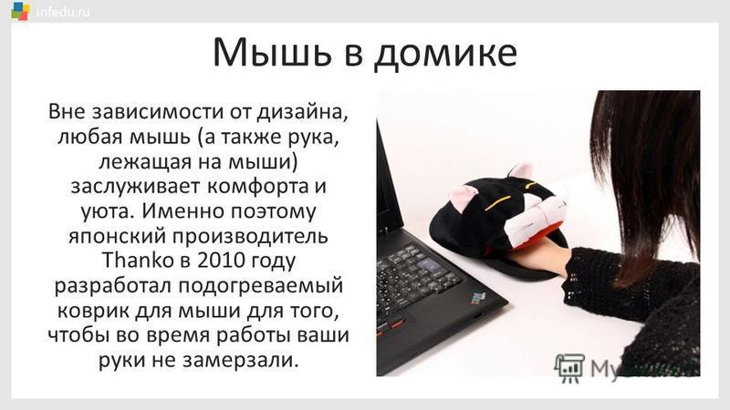 Мышь в домике Вне зависимости от дизайна, любая мышь (а также рука, лежащая на мыши) заслуживает комфорта и уюта. Именно поэтому японский производитель Thanko в 2010 году разработал подогреваемый коврик для мыши для того, чтобы во время работы ваши р