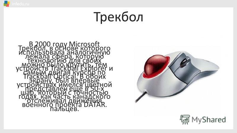 В 2000 году Microsoft использовала аналогичную технологию для своих устройств Trackball Explorer и Trackball Optical. В обоих устройствах имелся цветной шар, который с точностью отслеживал движения пальцев. Трекбол Трекбол, в основе которого лежала с