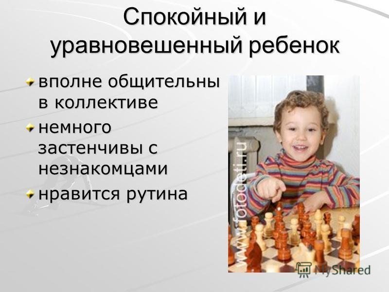 Спокойный и уравновешенный ребенок вполне общительны в коллективе немного застенчивы с незнакомцами нравится рутина