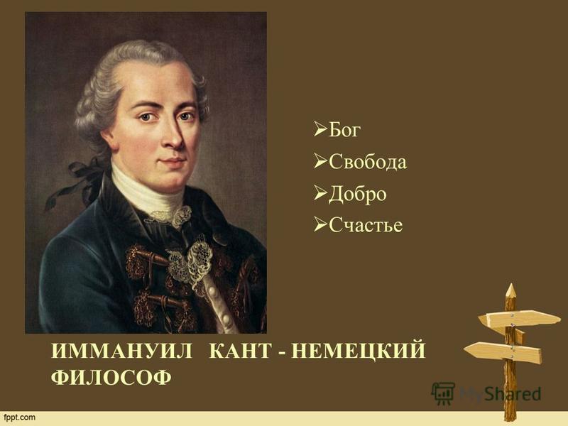 ИММАНУИЛ КАНТ - НЕМЕЦКИЙ ФИЛОСОФ Бог Свобода Добро Счастье