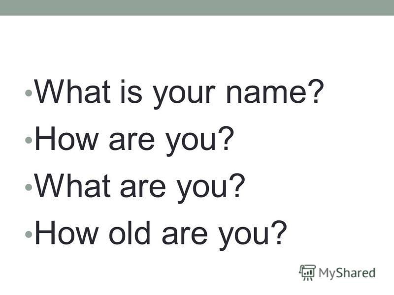 What is your name? How are you? What are you? How old are you?