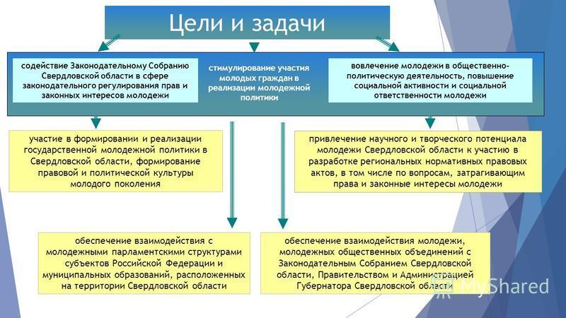 Цели и задачи содействие Законодательному Собранию Свердловской области в сфере законодательного регулирования прав и законных интересов молодежи стимулирование участия молодых граждан в реализации молодежной политики вовлечение молодежи в общественн