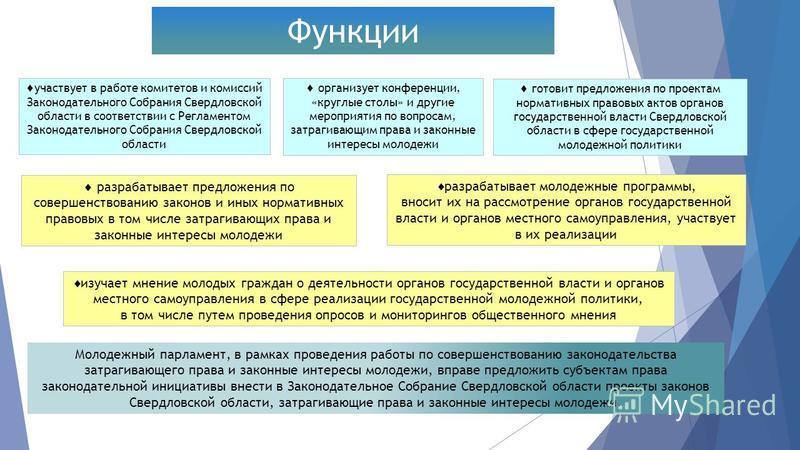 Функции участвует в работе комитетов и комиссий Законодательного Собрания Свердловской области в соответствии с Регламентом Законодательного Собрания Свердловской области организует конференции, «круглые столы» и другие мероприятия по вопросам, затра