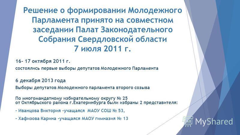 16- 17 октября 2011 г. состоялись первые выборы депутатов Молодежного Парламента 6 декабря 2013 года Выборы депутатов Молодежного парламента второго созыва По многомандатному избирательному округу 25 от Октябрьского района г.Екатеринбурга были избран