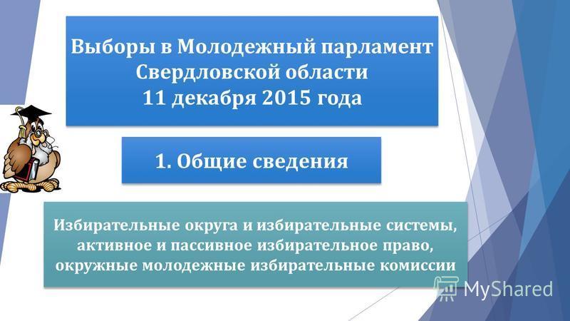 Выборы в Молодежный парламент Свердловской области 11 декабря 2015 года 1. Общие сведения Избирательные округа и избирательные системы, активное и пассивное избирательное право, окружные молодежные избирательные комиссии