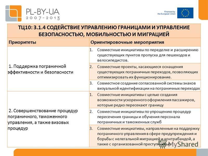 TЦ10: 3.1.4 СОДЕЙСТВИЕ УПРАВЛЕНИЮ ГРАНИЦАМИ И УПРАВЛЕНИЕ БЕЗОПАСНОСТЬЮ, МОБИЛЬНОСТЬЮ И МИГРАЦИЕЙ Приоритеты Ориентировочные мероприятия 1. Поддержка пограничной эффективности и безопасности 1. Совместные инициативы по переделке и расширению существую