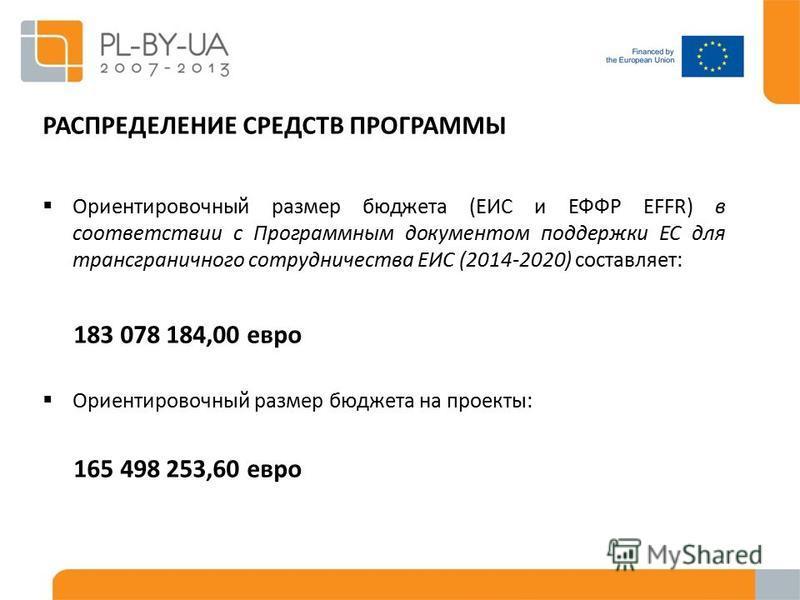 Ориентировочный размер бюджета (ЕИС и ЕФФР EFFR) в соответствии с Программным документом поддержки ЕС для трансграничного сотрудничества ЕИС (2014-2020) составляет: 183 078 184,00 евро Ориентировочный размер бюджета на проекты: 165 498 253,60 евро РА