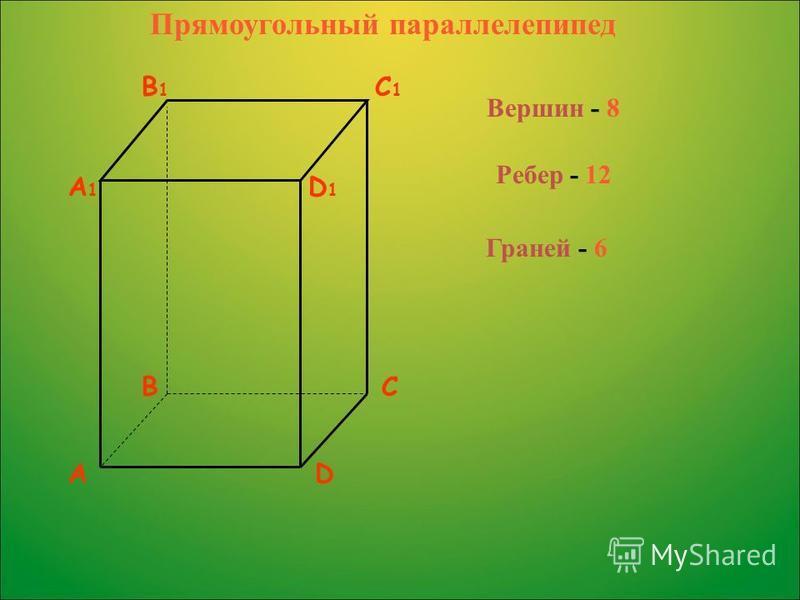 AD BC A1A1 D1D1 B1B1 C1C1 Вершин - 8 Ребер - 12 Граней - 6