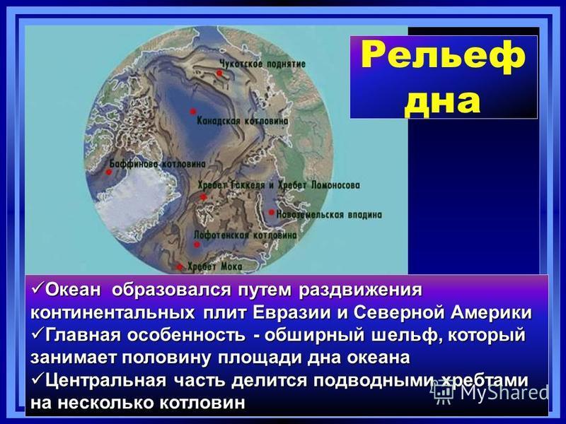 Рельеф дна Океан образовался путем раздвижения континентальных плит Евразии и Северной Америки Океан образовался путем раздвижения континентальных плит Евразии и Северной Америки Главная особенность - обширный шельф, который занимает половину площади