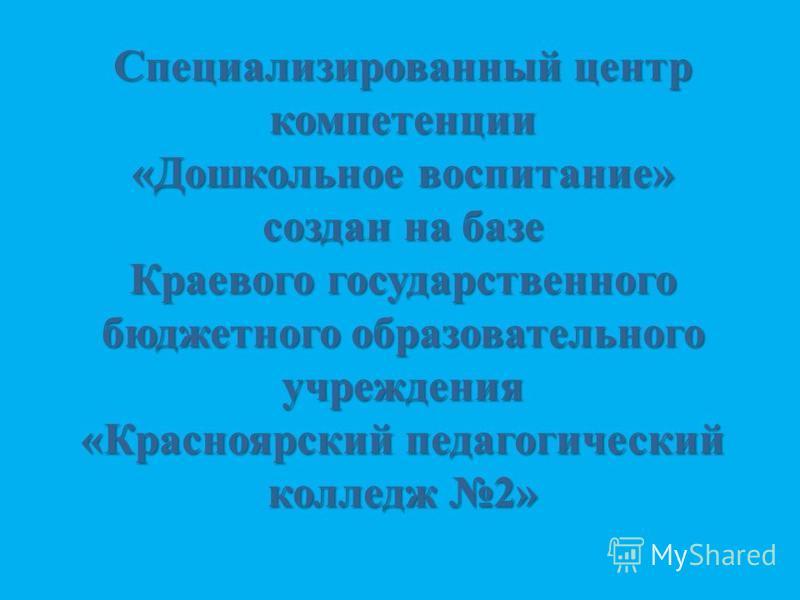 Специализированный центр компетенции «Дошкольное воспитание» создан на базе Краевого государственного бюджетного образовательного учреждения «Красноярский педагогический колледж 2»