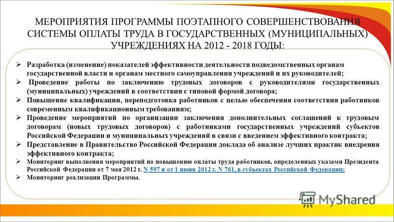 МЕРОПРИЯТИЯ ПРОГРАММЫ ПОЭТАПНОГО СОВЕРШЕНСТВОВАНИЯ СИСТЕМЫ ОПЛАТЫ ТРУДА В ГОСУДАРСТВЕННЫХ (МУНИЦИПАЛЬНЫХ) УЧРЕЖДЕНИЯХ НА 2012 - 2018 ГОДЫ: Разработка (изменение) показателей эффективности деятельности подведомственных органам государственной власти и