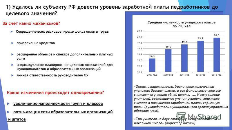 1) Удалось ли субъекту РФ довести уровень заработной платы медработников до целевого значения? с За счет каких механизмов? расширение объемов и спектра дополнительных платных услуг индивидуальное планирование целевых показателей для муниципалитетов и