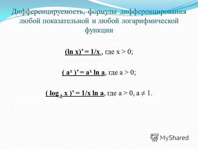 Дифференцируемость, формулы дифференцирования любой показательной и любой логарифмической функции (ln x) = 1/x, где x > 0; ( a x ) = a x ln a, где a > 0; ( log a x ) = 1/x ln a, где а > 0, а 1.