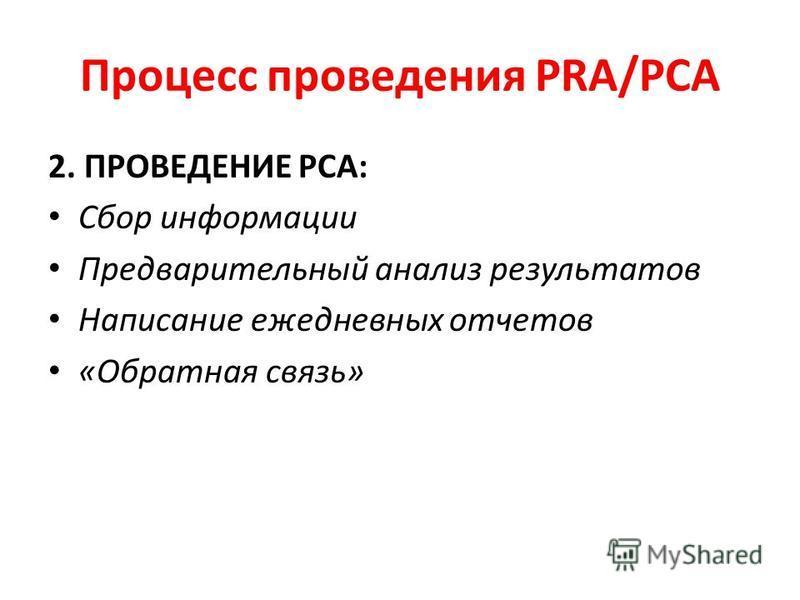 Процесс проведения PRA/PCA 2. ПРОВЕДЕНИЕ РСА: Сбор информации Предварительный анализ результатов Написание ежедневных отчетов «Обратная связь»