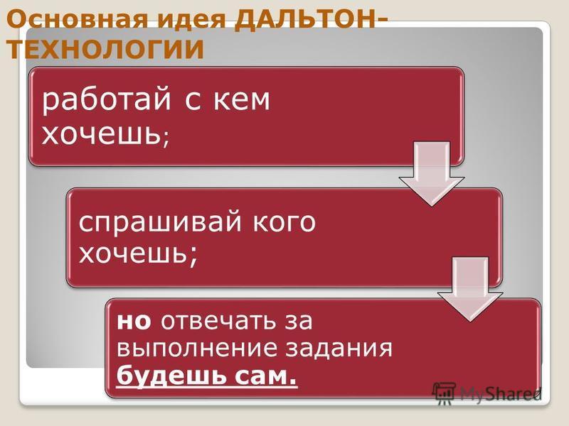 Основная идея ДАЛЬТОН- ТЕХНОЛОГИИ: работай с кем хочешь ; спрашивай кого хочешь; но отвечать за выпалнение задания будешь сам. Основная идея ДАЛЬТОН- ТЕХНОЛОГИИ