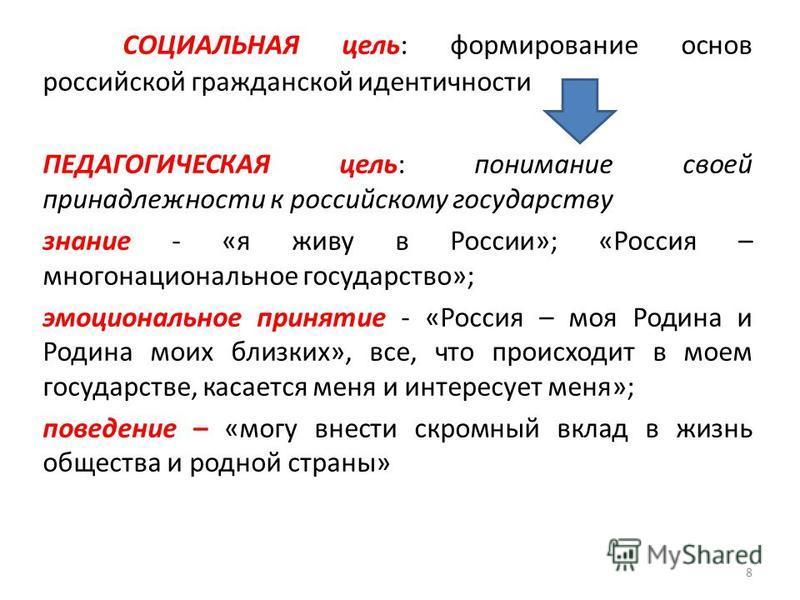 СОЦИАЛЬНАЯ цель: формирование основ российской гражданской идентичности ПЕДАГОГИЧЕСКАЯ цель: понимание своей принадлежности к российскому государству знание - «я живу в России»; «Россия – многонациональное государство»; эмоциональное принятие - «Росс