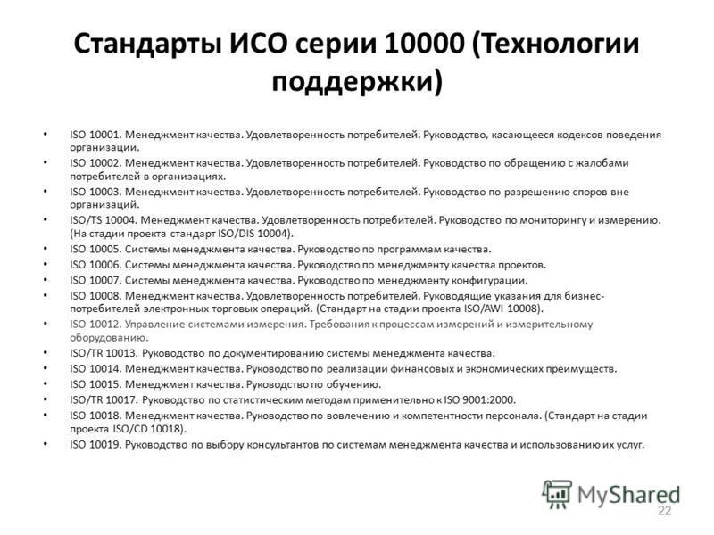 Стандарты ИСО серии 10000 (Технологии поддержки) ISO 10001. Менеджмент качества. Удовлетворенность потребителей. Руководство, касающееся кодексов поведения организации. ISO 10002. Менеджмент качества. Удовлетворенность потребителей. Руководство по об