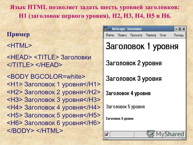 41 Язык HTML позволяет задать шесть уровней заголовков: H1 (заголовок первого уровня), Н2, Н3, H4, Н5 и H6. Пример Заголовки Заголовок 1 уровня Заголовок 2 уровня Заголовок 3 уровня Заголовок 4 уровня Заголовок 5 уровня Заголовок 6 уровня