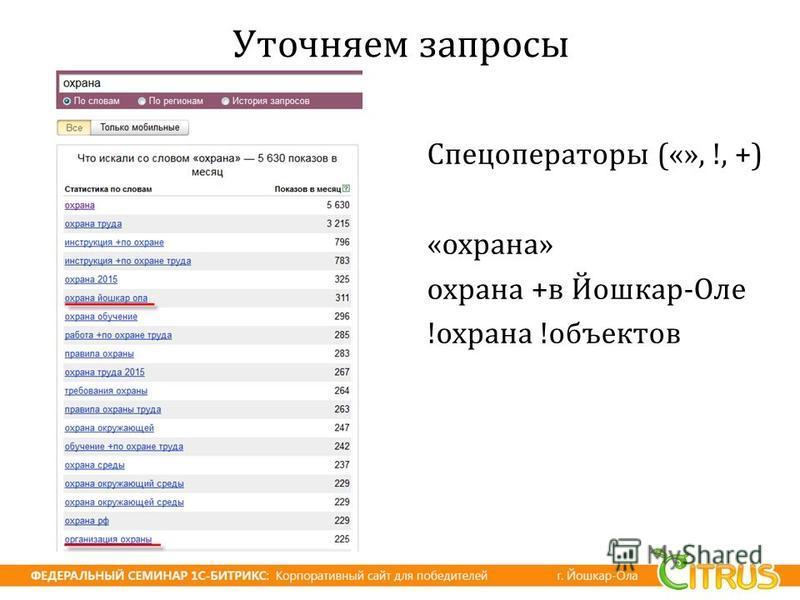 Уточняем запросы Спецоператоры («», !, +) « охрана » охрана + в Йошкар - Оле ! охрана ! объектов