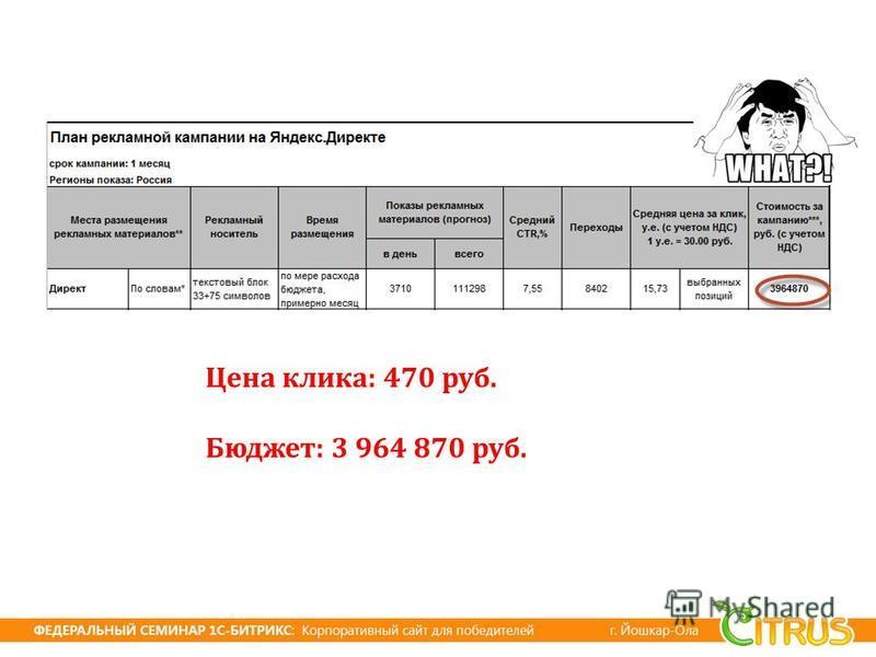 Цена клика : 470 руб. Бюджет : 3 964 870 руб.