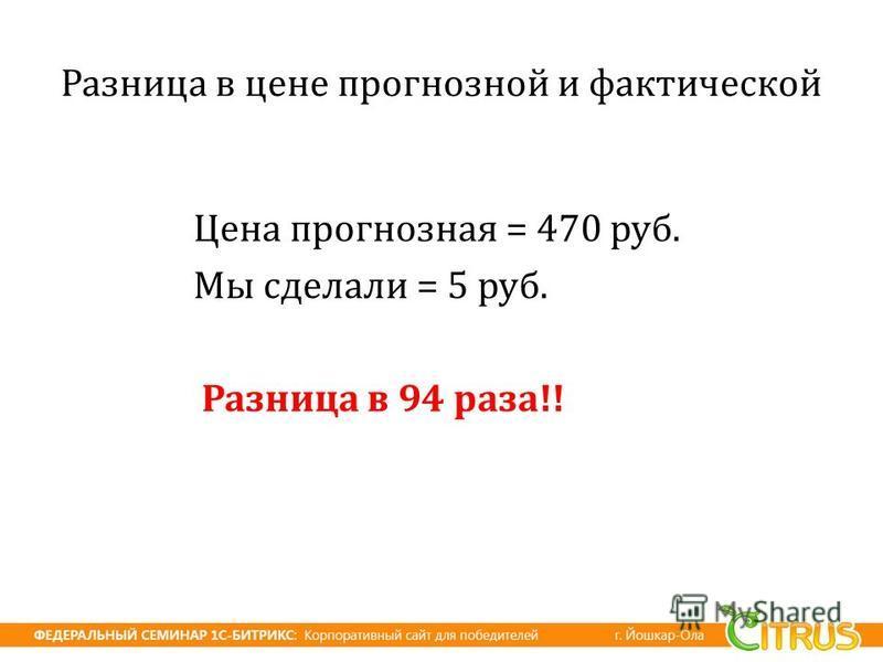 Разница в цене прогнозной и фактической Цена прогнозная = 470 руб. Мы сделали = 5 руб. Разница в 94 раза !!