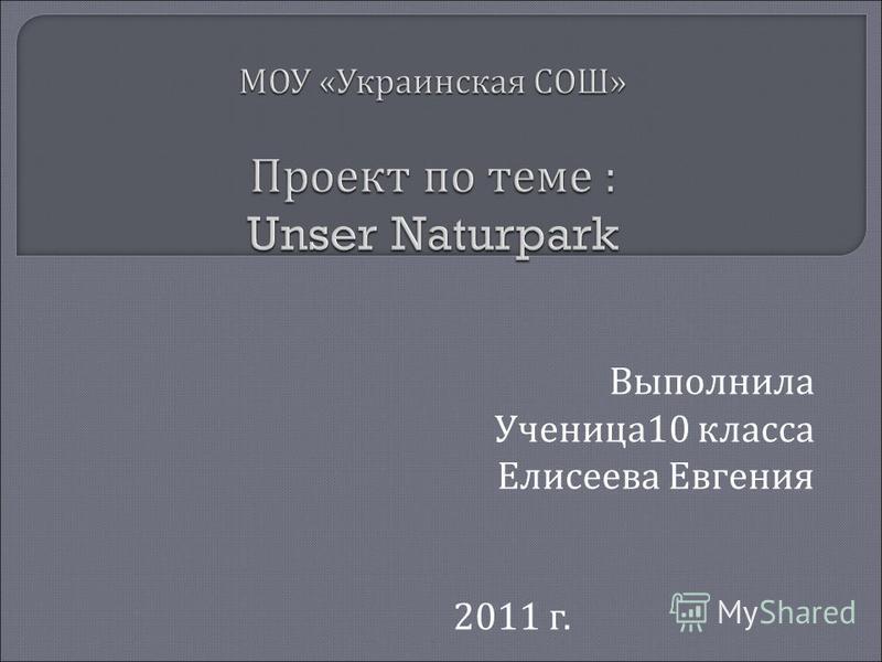 Выполнила Ученица 10 класса Елисеева Евгения 2011 г.