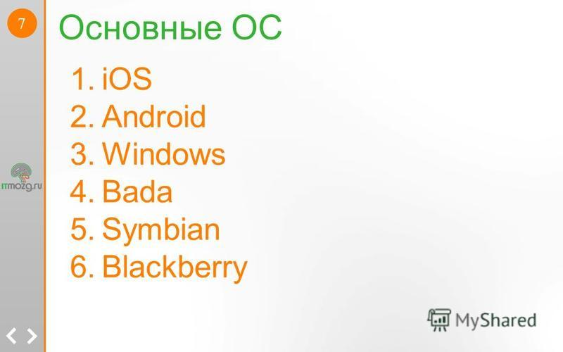 7 Основные ОС 1. iOS 2. Android 3. Windows 4. Bada 5. Symbian 6.Blackberry