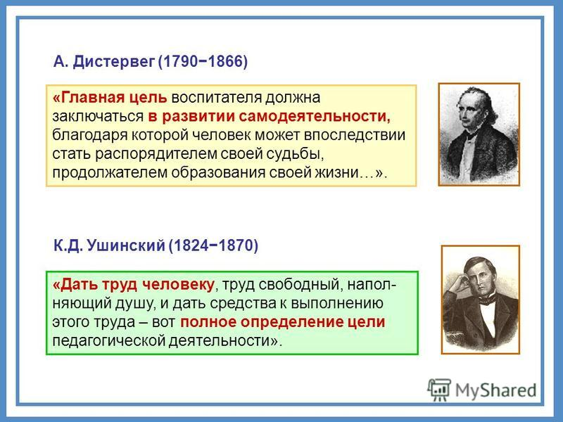 А. Дистервег (17901866) «Главная цель воспитателя должна заключаться в развитии самодеятельности, благодаря которой человек может впоследствии стать распорядителем своей судьбы, продолжателем образования своей жизни…». «Дать труд человеку, труд свобо