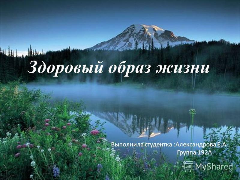 Здоровый образ жизни Выполнила студентка :Александрова Е.А Группа 192А