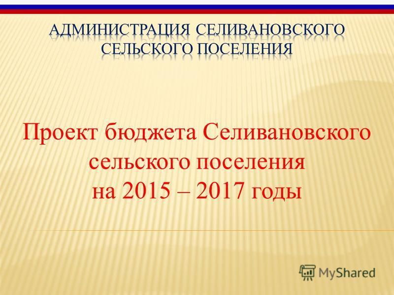 Проект бюджета Селивановского сельского поселения на 2015 – 2017 годы