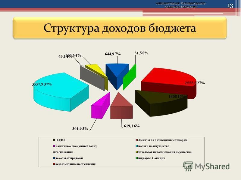 13 Структура доходов бюджета Администрация Селивановского сельского поселения