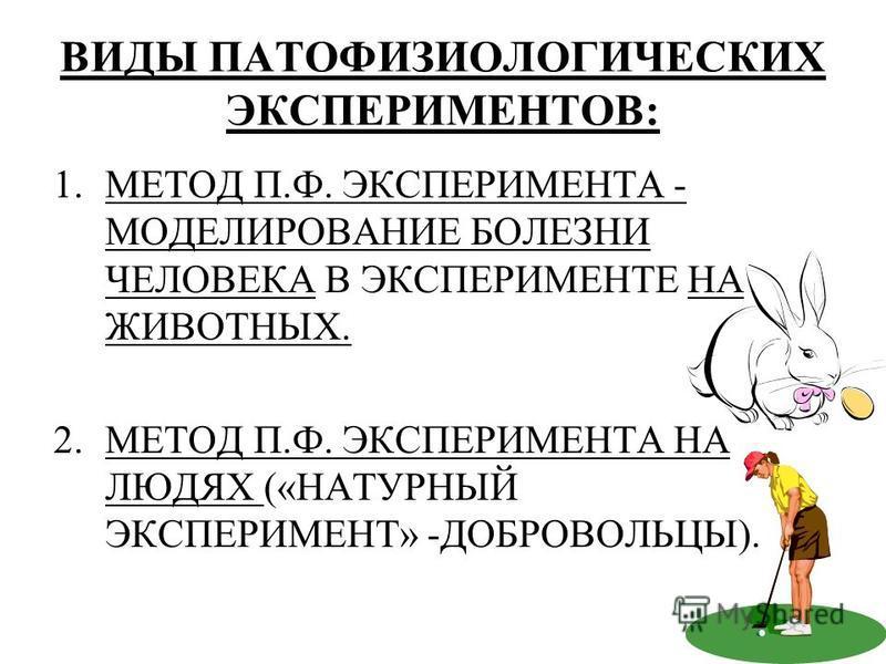 ВИДЫ ПАТОФИЗИОЛОГИЧЕСКИХ ЭКСПЕРИМЕНТОВ: 1. МЕТОД П.Ф. ЭКСПЕРИМЕНТА - МОДЕЛИРОВАНИЕ БОЛЕЗНИ ЧЕЛОВЕКА В ЭКСПЕРИМЕНТЕ НА ЖИВОТНЫХ. 2. МЕТОД П.Ф. ЭКСПЕРИМЕНТА НА ЛЮДЯХ («НАТУРНЫЙ ЭКСПЕРИМЕНТ» -ДОБРОВОЛЬЦЫ).