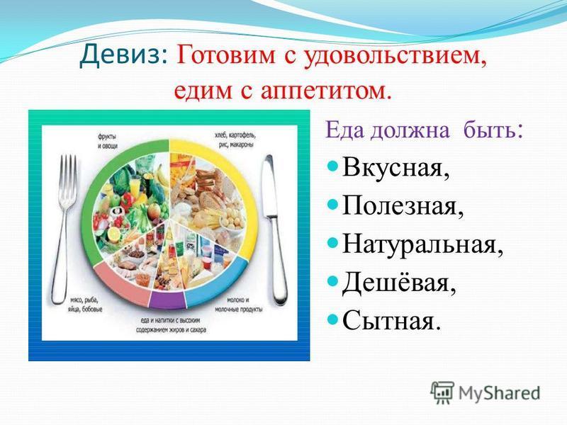 Девиз: Готовим с удовольствием, едим с аппетитом. Еда должна быть : Вкусная, Полезная, Натуральная, Дешёвая, Сытная.