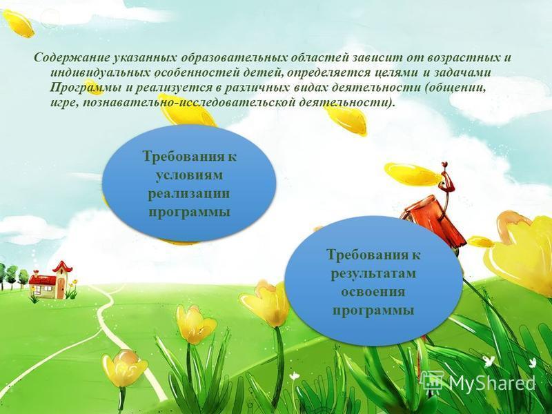 Содержание указанных образовательных областей зависит от возрастных и индивидуальных особенностей детей, определяется целями и задачами Программы и реализуется в различных видах деятельности (общении, игре, познавательно-исследовательской деятельност
