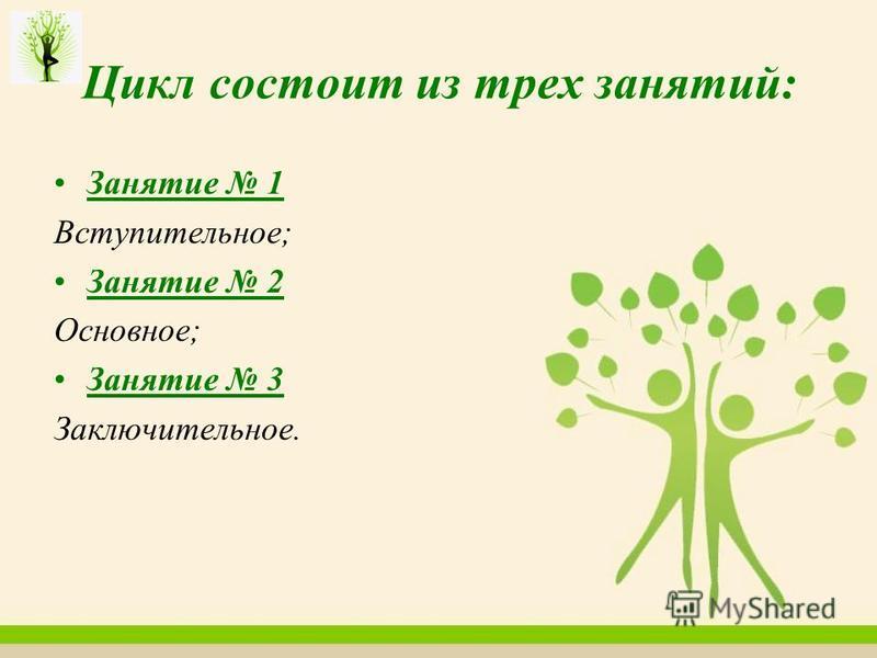 Цикл состоит из трех занятий: Занятие 1 Вступительное; Занятие 2 Основное; Занятие 3 Заключительное.