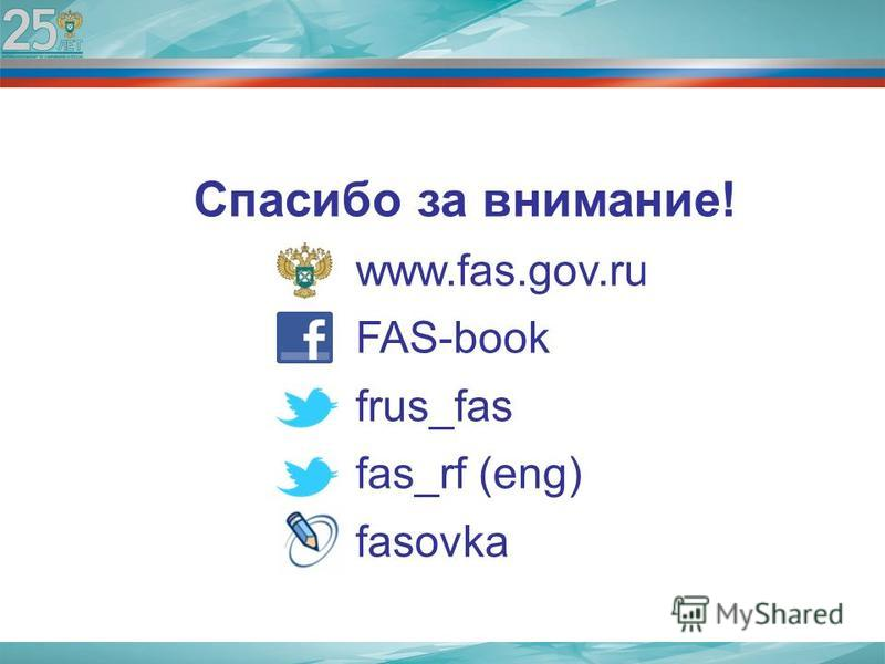 Спасибо за внимание! www.fas.gov.ru FAS-book frus_fas fas_rf (eng) fasovka