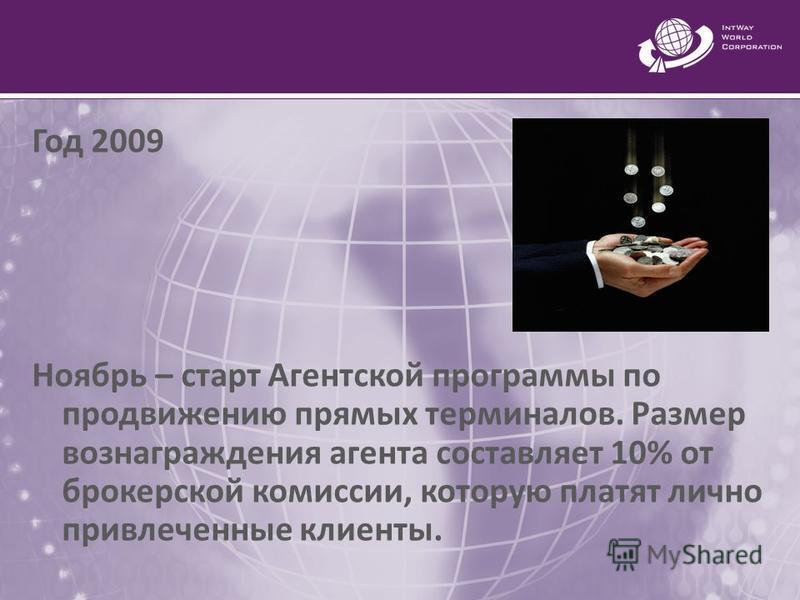 Год 2009 Ноябрь – старт Агентской программы по продвижению прямых терминалов. Размер вознаграждения агента составляет 10% от брокерской комиссии, которую платят лично привлеченные клиенты.