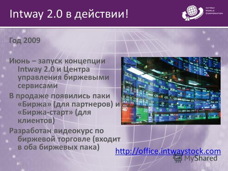 Intway 2.0 в действии! Год 2009 Июнь – запуск концепции Intway 2.0 и Центра управления биржевыми сервисами В продаже появились паки «Биржа» (для партнеров) и «Биржа-старт» (для клиентов) Разработан видеокурс по биржевой торговле (входит в оба биржевы