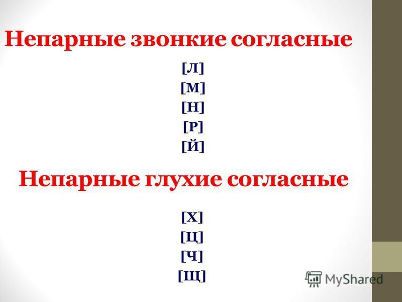Непарные звонкие согласные [Л][М][Н][Р][Й][Л][М][Н][Р][Й] Непарные глухие согласные [Х][Ц][Ч][Щ][Х][Ц][Ч][Щ]