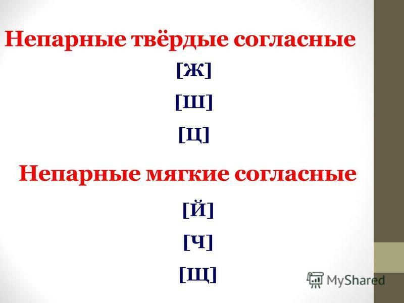 Непарные твёрдые согласные [Ж][Ш][Ц][Ж][Ш][Ц] Непарные мягкие согласные [Й][Ч][Щ][Й][Ч][Щ]