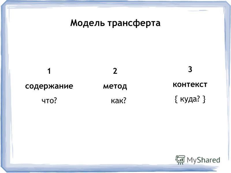 2 метод как? Модель трансферта 1 содержание что? 3 контекст { куда? }