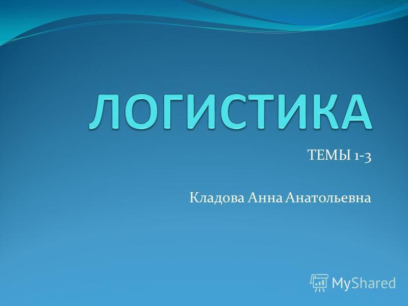 ТЕМЫ 1-3 Кладова Анна Анатольевна