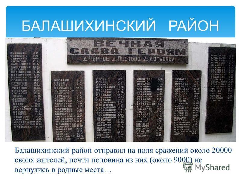 Балашихинский район отправил на поля сражений около 20000 своих жителей, почти половина из них (около 9000) не вернулись в родные места… БАЛАШИХИНСКИЙ РАЙОН