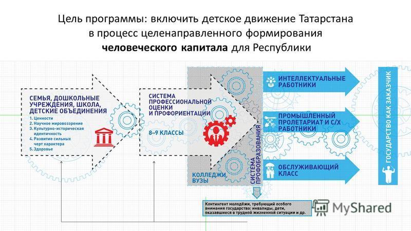 Цель программы: включить детское движение Татарстана в процесс целенаправленного формирования человеческого капитала для Республики